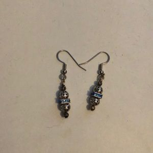 Blue and silver dainty earrings